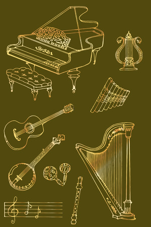 fife: outline a set of musical instruments piano, harp, lyre, guitar, banjo, maracas, fife, flute, color gold, bronse in green backround