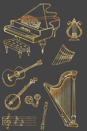 fife: outline a set of musical instruments piano, harp, lyre, guitar, banjo, maracas, fife, flute color gold