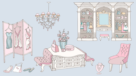 outline a set of furniture for a chic, glamor, elegant  dressing room for storage of female fashion and fitting,  colored blue, pink, white, yellow
