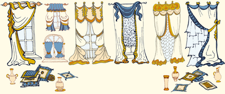 window shade: Set  sketch - draperies, curtains , pillows and vases-color
