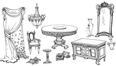 a sketch of the classical interior dinning room, set furniture