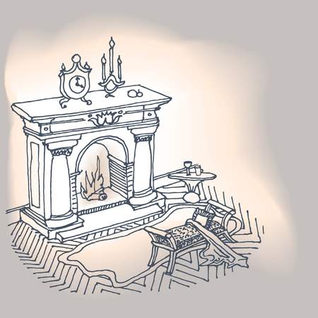 a sketch of the interior with a fireplace, carpet and stool