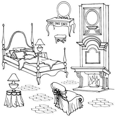 old mirror: Sketch of furniture for classic old bedroom with fireplace, dressing table, mirror, armchair black and white Illustration