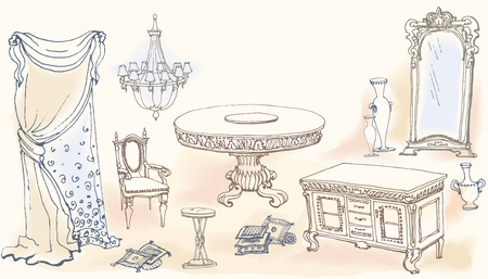 cushions: a sketch of the classical interior dining room, set  furniture -table, stool, shower curtain, chandelier, chest of drawers, a vase, cushions, decorative elements Illustration