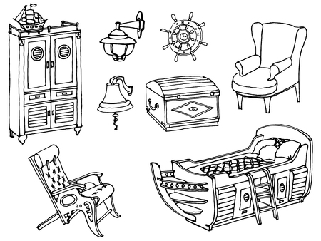 Set Of Painted Furniture For The Bedroom Of A Teenager In A Marine Style,  Black