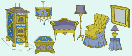 home furnishings: sketch set of elegant furniture and accessories for the old art deco living room with stove, armchair and a lamp Illustration