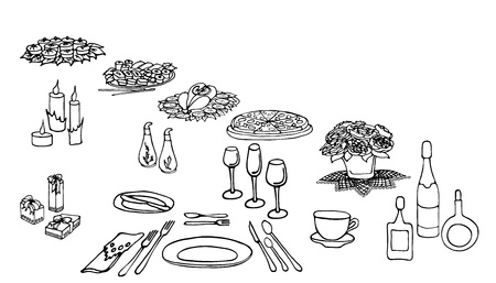 set of painted items for menu, table in celebration, flowers, drinks, food, gifts, food, cutlery