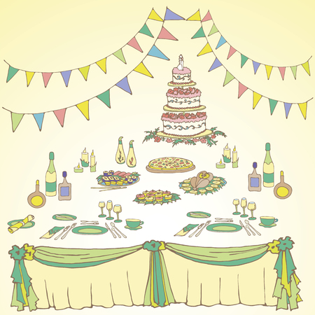 flowers, box, cake wedding, anniversary, birthday, alcohol, menus, check boxes, color, bright, green, yellow Illustration