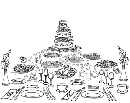 a set of sketch invitation for an anniversary, a birthday, a menu on the holiday table serving, cake, cloth, food, drinks, candles, form of a pyramid, black and white
