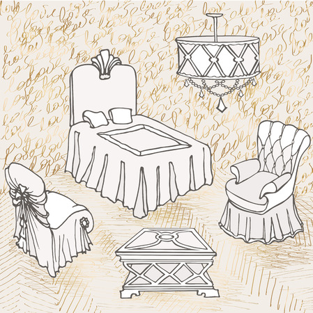 outline of bedroom furniture suite, lovers, with gold letters love sketch, gold and grey color Illustration