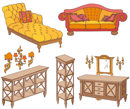 furnishings: Doodle, sketch of a set of furniture bright red, yellow, brown, shelves, chest of drawers, sofa, couch, mirror, lamps,