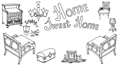 card with a set of furniture painted with the text  sweet home, for house warming party, in the style of Provence vintage black white