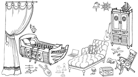 developed: A set of furniture for a young gentleman of the room teenager in a nautical theme, music, sports, stylish room Illustration