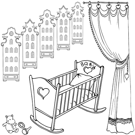 Cute bed for little baby newborn,sketch set of childs items, house Amsterdam and curtian, black on a white background