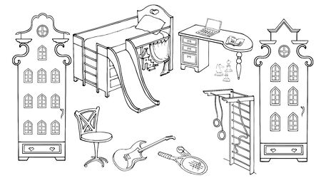 adolescent: Outline set of furniture for the room teenager sporty, energetic, enthusiastic, sketch black on a white background