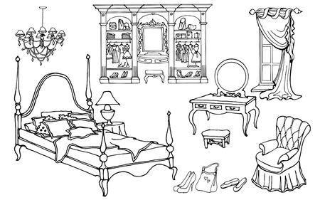 Set outline for an elegant bedroom furniture in an old style with wardrobe, vector isolated objects on a white background Black