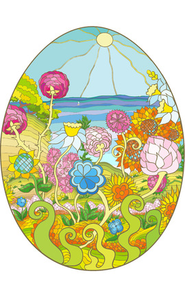 Marine and floral landscape drawing on Easter egg vector pattern brightly spring colored Illustration