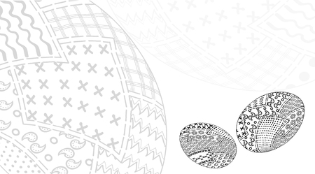 cotton velvet: Invitation card designed by easter eggs in style patchwork vector black and white, of pieces of fabric  traditional Illustration