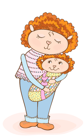 Drawing of a cute cartoon mom lamb with a baby in a diaper vector, tender colors pink, blue, and yellow clothes, red curly hair