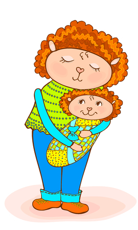 Sketch cartoon mom with little lamb baby in a diaper, colorful vector, bright blue and green clothes and red hair