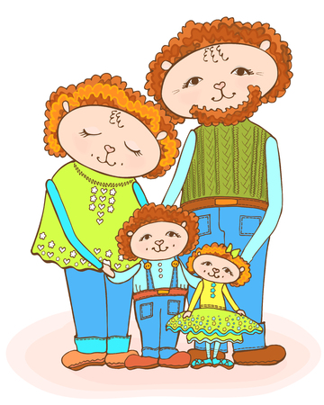 Funny drawing of the family of sheep, mom, dad, daughter and son, red-haired in bright green and in denim, vector doodle