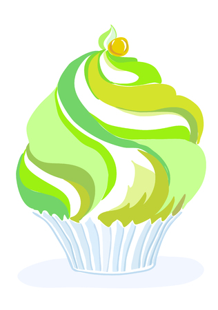 Stylized vector cupcake with cream and whipped cream, delicious, sweet and sour, mint, aromatic Illustration
