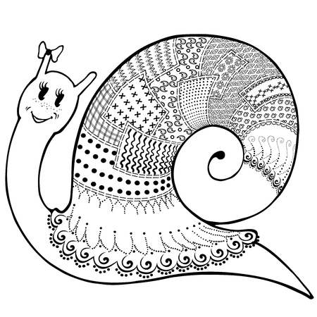 dna smile: Vector sketch cartoon cute snail in clothes patchwork, hand-drawn of black lines on white background