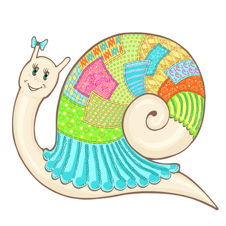 Vector sketch cartoon cute snail in clothes patchwork, hand-drawn colorfull Illustration