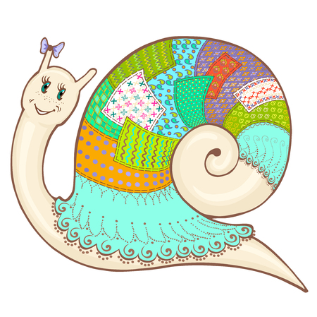 Vector sketch cartoon cute snail in clothes patchwork, hand-drawn colorful Illustration