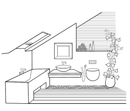 Vector scheme of chic minimalist bathroom in the attic with window with wooden boards, pebbles and flowers, in black lines on a white background
