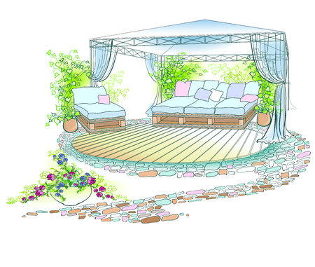 Vector drawing with bright spots cozy corner of a landscape design of a court yard with a garden sofa from boxes, forged canopy with curtains, ivy, petunias, a wooden floor and a stone path in green and blue Ilustracja