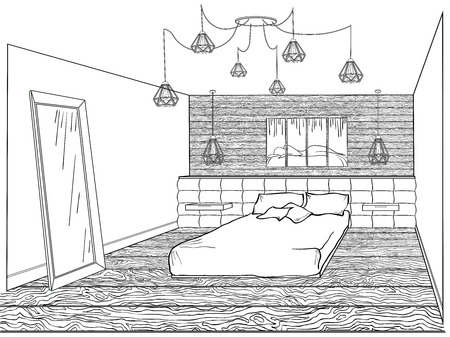 Interior bedroom loft with a bed soft quilted, wooden wall and floor, a lamp spider, a mirror and a modern painting with a silhouette sleeping on the headboard, a sketch in the lines.
