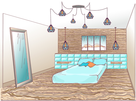 headboard: Interior bedroom loft with a bed soft quilted, wooden wall and floor, a lamp spider, a mirror and a modern painting with a silhouette on a headboard, blue and brown colorloft, wooden, lamp spider, mirror, silhouette, nude,  headboard, sketch, lines