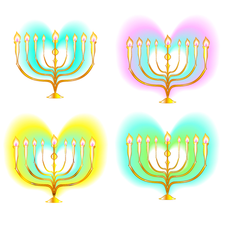 Candelabrum menorah seven lights,  inside bright hearts for Israeli Jewish religious holiday outline vector golden in color gradient