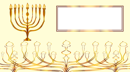 israeli: Invitation card for Israeli Jewish religious holiday with a chandelier seven lights, menorah painted in a vector of gold lines