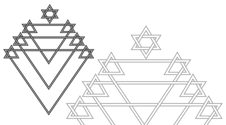 zionism: The Menorah and the Star of David are a religious Jewish festive geometric symbol from straight lines in black and white