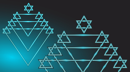 zionism: Menorah and Star of David religious  Jewish  festive geometric symbol from straight lines with a radiance of blue on a black background with a gradient Illustration