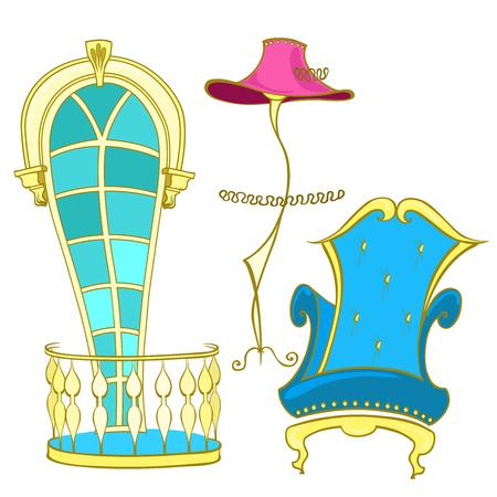 Klassiek meubilair voor binnenfauteuil met hoge rug, lamp als een dame met een hoed, een raam met een boog en een Frans balkon met balusters in felle kleuren