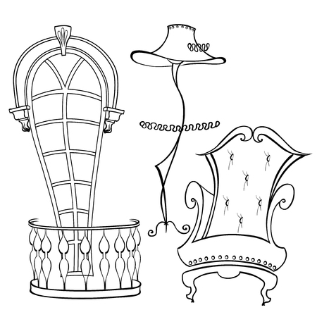 Set of classic furniture for interior armchair with high back, lamp like a lady with a hat, a window with an arch and a French balcony with balusters Illustration
