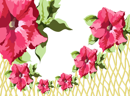 calico: Repeating red flowers and green leaves of petunia in the shape of a frame on the edge of a basket of vines, vector illustration of a colorful bright