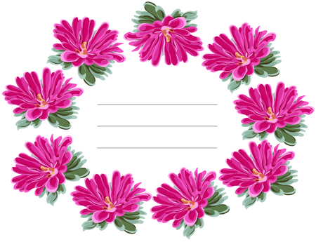 provincial: Framework oval wreath of bright pink chrysanthemums with green leaves, drawn in vector on white background with place for congratulatory lettering