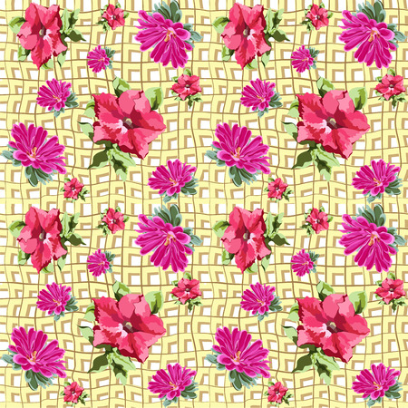 negligent: Seamless structure in the form of red petunia flowers and bright pink chrysanthemum on the background of intersecting yellow crumpled lines of burlap, flax or old jute fabric