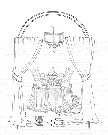 A beautiful sketch of a drawing of vector lines for a Sabbath or marriage, couple in love, interior table with chairs, curtains, outside the window with a Menorah Stock Vector - 88669616