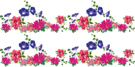 vector seamless structure with bright natural flowers,  petunias, bindweed, ivy, aster, chrysanthemum  on white background Illustration