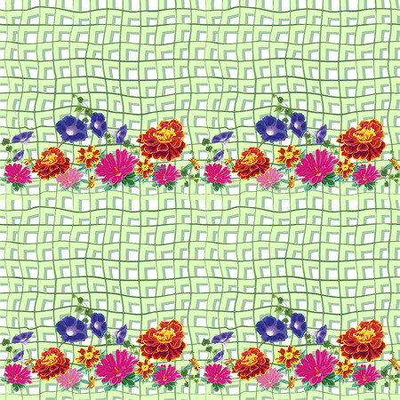 vector seamless structure with bright natural flowers, marigolds, petunias, bindweed, ivy, aster, chrysanthemum  against a background of green burlap