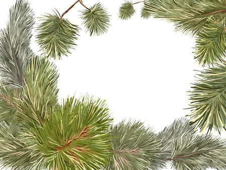 Vector card with hand-drawn New Years festive branches of pine and a Christmas tree, with a place for inscriptions in the center. Ilustração