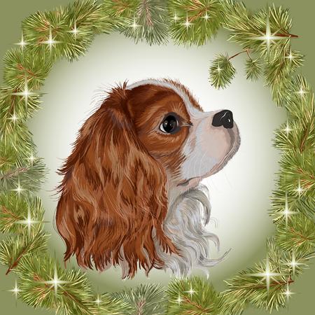 現実的に描かれた新年の花輪のフレームでキャバリア ・ キング ・ チャールズ ・ スパニエル犬種の犬おめでとう 2018年犬年ベクトル