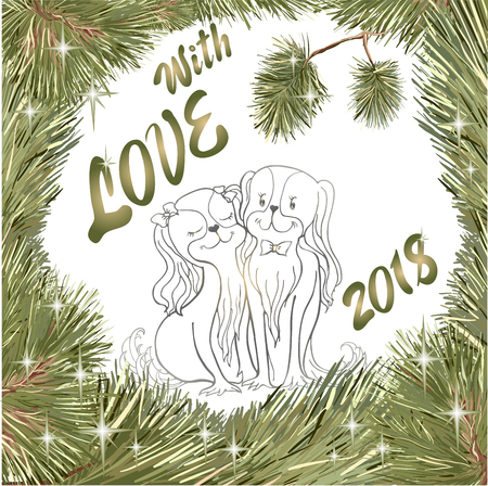 Vector outline, frame Christmas wreath from pine branches, Christmas trees and stars in love of spaniels, a dog symbol of New Year 2018, the inscription