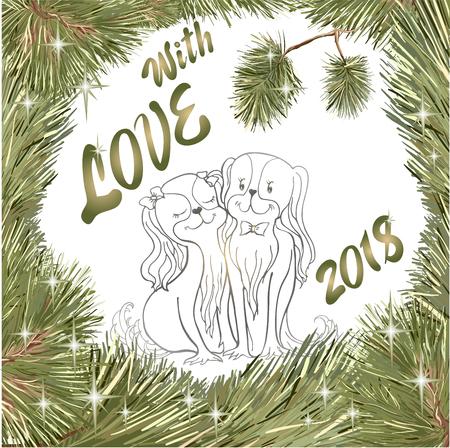 Contour de vecteur, cadre de Noël guirlande de branches de pin, arbres de Noël et des étoiles en amour des épagneuls, un symbole de chien de la nouvelle année 2018, l'inscription Banque d'images - 90343626