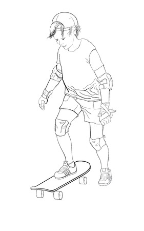 Boy, teenager skateboarding, beginner and uncertain, feeling afraid, learning to skate, vector silhouette isolated outline in black line in white background Vectores